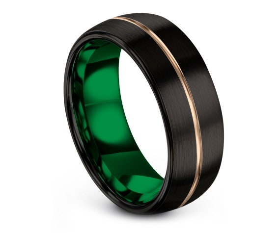 Domed Tungsten Wedding Band Black | Tungsten Engagement Ring Green | Rose Gold Rings For Wedding | Engagement Ring | Promise Ring For Him