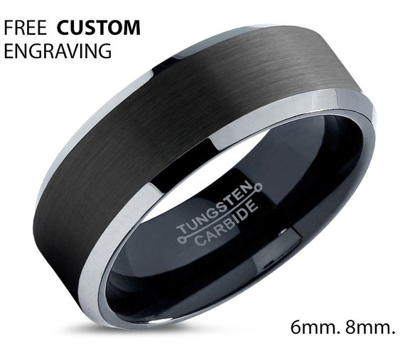 Men's Tungsten Wedding Band, Tungsten Wedding Ring, Black Tungsten Band, Engagement Ring, Anniversary Ring, Beveled Edges,8mm,6mm