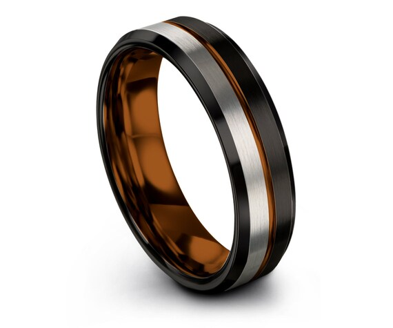Black Tungsten Wedding Band Womens | Copper Engagement Ring | Beveled Silver Tungsten Band | Center Engraved Engraving | Matching Ring | 6MM