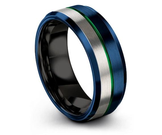 Silver Tungsten Carbide 8mm,Black Wedding Band,Engagement Ring,Custom Tungsten Ring,Blue Tungsten Ring,Thin Line Green Engraving Ring
