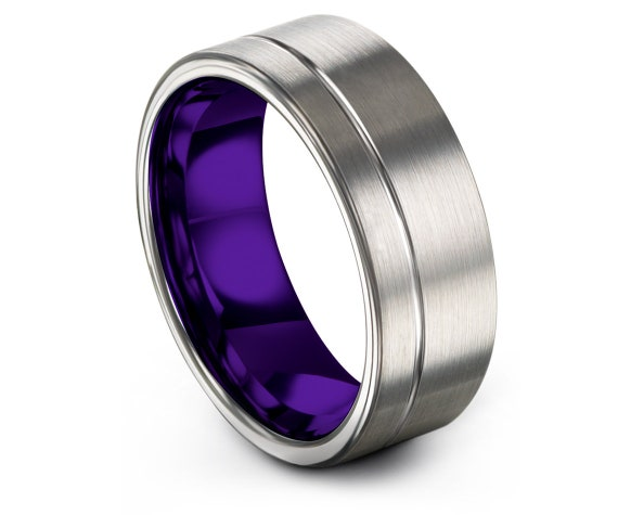 Offset Engraving Tungsten Ring, Silver and Purple, Mens Tungsten Wedding Ring, Size 10 Ring, Promise Ring, Rings for Women, Unique Gifts