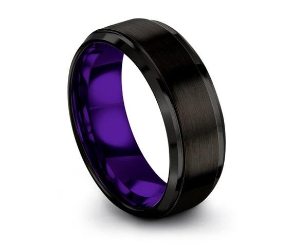 Tungsten Ring Mens Black Purple Wedding Band Tungsten Ring Tungsten Carbide 8mm Tungsten Man Wedding Male Women Anniversary Matching