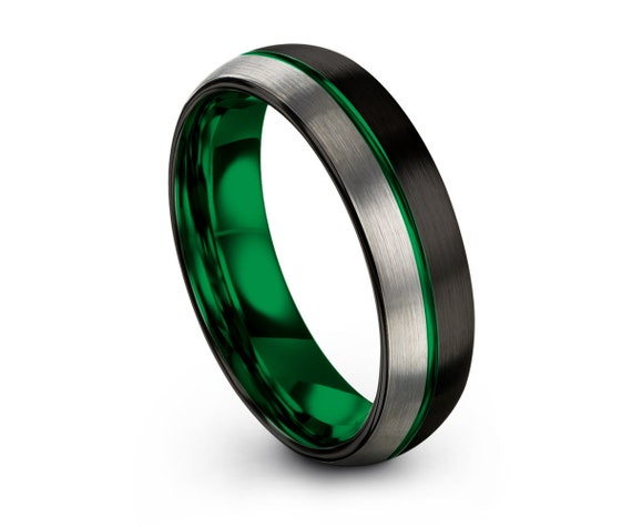 Mens Wedding Band Green, Black Tungsten Ring, Brushed Silver Wedding Ring, Engagement Ring, Promise Ring, Rings for Men, Rings for Women