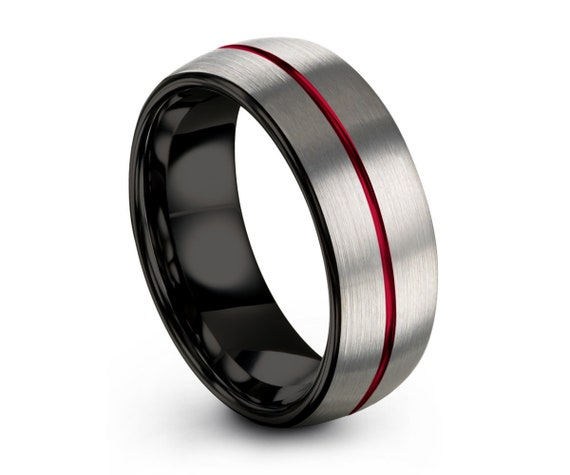 Mens Wedding Band Silver, Tungsten Ring Red 8mm, Wedding Ring Black, Engagement Ring, Promise Ring, Personalized Ring, Rings for Men