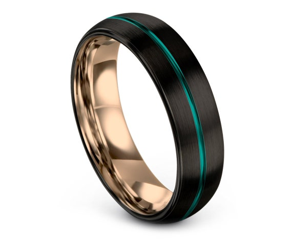 Black His and Hers Wedding Bands, Tungsten Wedding Band, Women Wedding Bands Teal, Tungsten Carbide Men Ring, Thin Line Center Engraved