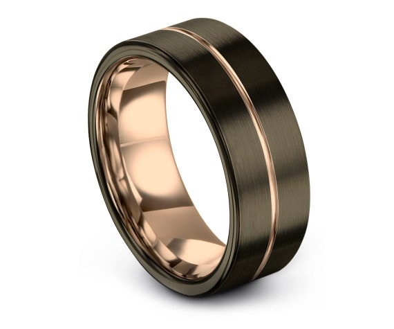 Flat Tungsten Wedding Band - Tungsten Ring 8mm - His and Hers Wedding Ring Set - Valentine Gifts For Him - Comfort Band Size 7 - Couple Ring