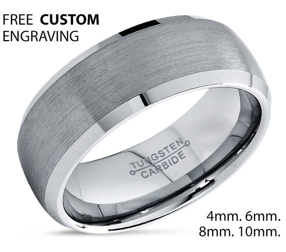 Tungsten Wedding Band,Tungsten Wedding Bands,Tungsten Ring,Brushed Polish,Comfort Fit,Anniversary Band,Engagement Band,His,Hers,8mm RingSet
