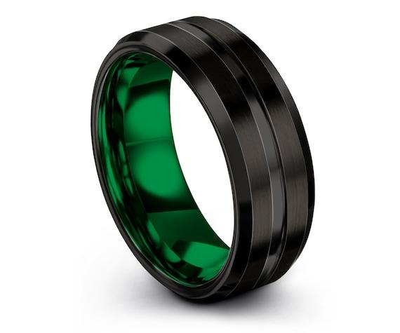 8mm Beveled Tungsten Wedding Band With Center Engraving Rings | Green Tungsten Ring Men | Black Wedding Band | Tungsten Ring | Size 8 Ring