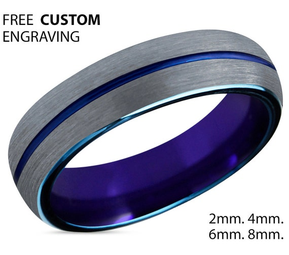 Tungsten Ring Mens Purple Brushed Silver Blue Wedding Band Tungsten Ring Tungsten Carbide 6mm Man Male Women Anniversary Matching