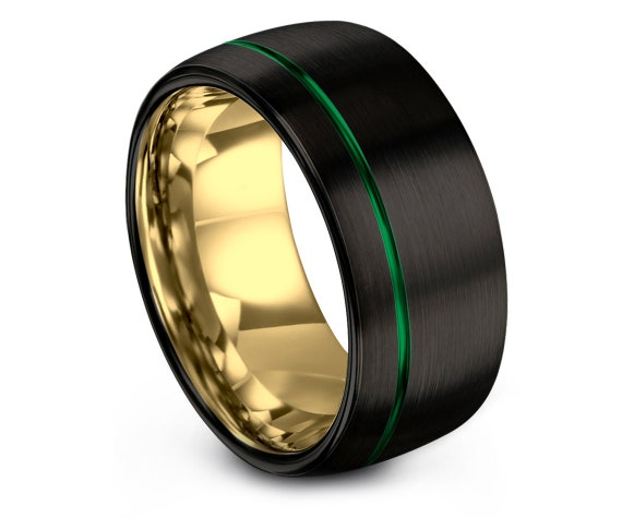 Tungsten Carbide Wedding Band, Tungsten Band For Men, Green Wedding Band, Brushed Tungsten Wedding Band, Gifts For Her, Thin Line Jewelry
