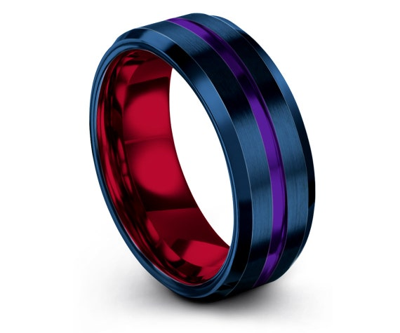Engraved Tungsten Ring Red,Double Line Engraving,Step Edge,Purple Tungsten Wedding Band Set,His and Hers,Anniversary Ring,Gifts For Him,8mm