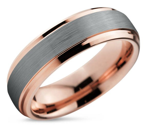 Tungsten Ring Rose Gold, Brushed Silver Wedding Band, Tungsten Carbide 10mm 8mm 6mm 4mm 18K, Mens, Women, Anniversary, Rings for Him, Unisex
