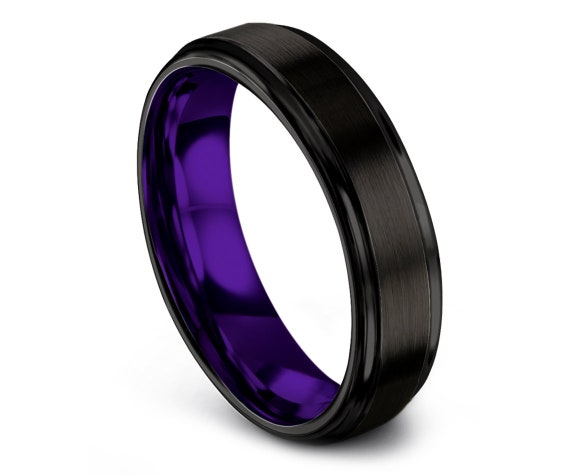 Promise Ring, Black Tungsten Wedding Band, Step Edge Tungsten Ring Women, Mens Purple Ring, Comfort Fit, Anniversary Ring, Unique Gifts