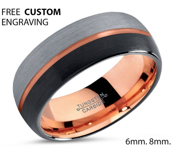 Rose Gold Centered Line Black Brushed Silver Wedding Band Ring Gloss Polished Free Shipping Unique Custom Engraving Personalized Gift Idea