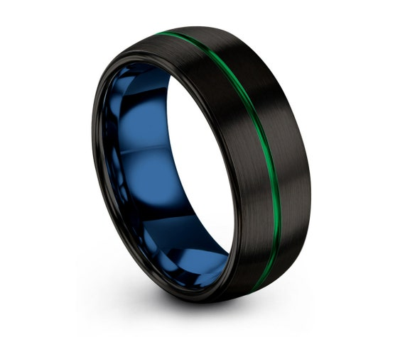 Tungsten Ring Mens Green Black Blue Wedding Band Tungsten Ring Tungsten Carbide 8mm Tungsten Man Wedding Male Women Anniversary Matching