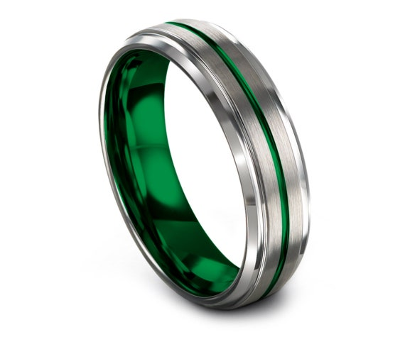 Personalized Jewelry Wedding Band Green | Beveled Silver Tungsten Wedding Band | Promise Ring | His and Hers Rings | Gifts for Women