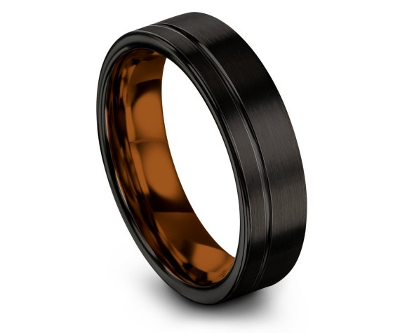 Flat Unique Wedding Band Black - Copper Tungsten Wedding Band - Comfort Tungsten Ring - Offset Engraving Ring - Promise Ring - Free Shipping