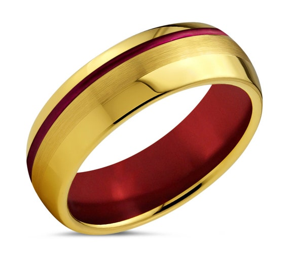 Iron Man Inspired Red and 18k Yellow Gold Tungsten Ring - Unique Promise Ring - Free Personalized Engraving - USC