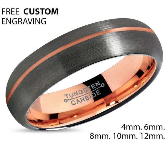 GUNMETAL Mens Wedding Band, Rose Gold Wedding Ring, Tungsten Ring 6mm 18K, Engagement Ring, Promise Ring, Gifts for Her, Gifts for Him