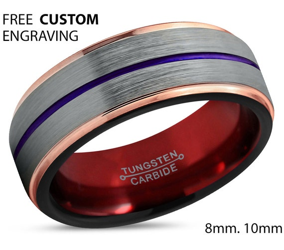 Mens Wedding Band Red, Brushed Silver Tungsten Ring Purple Stripe, Engagement Ring, Promise Ring, Personalized, Gifts for Him, 18k Rose Gold