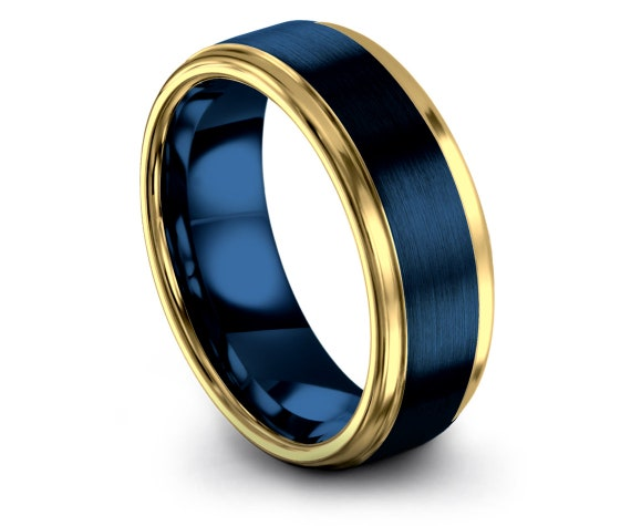 Couple Matching Ring Blue | His and Hers Wedding Band | Domed Tungsten Carbide Ring | Gold Engagement Ring | Best Friend Gifts | 6mm