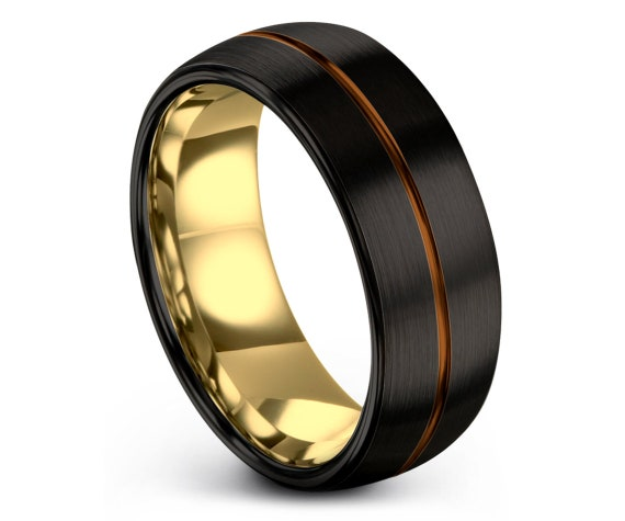 Domed Tungsten Wedding Band, Brushed Polished Tungsten Band, Copper Tungsten Band, Unique Ring, Infinity Ring, Rings For Women