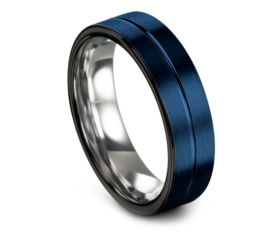 Black & Blue Engraved Wedding Band, Tungsten Ring Men 6mm, Tungsten Ring Men, Gifts For Her, Silver Tungsten Ring, Engagement Gift