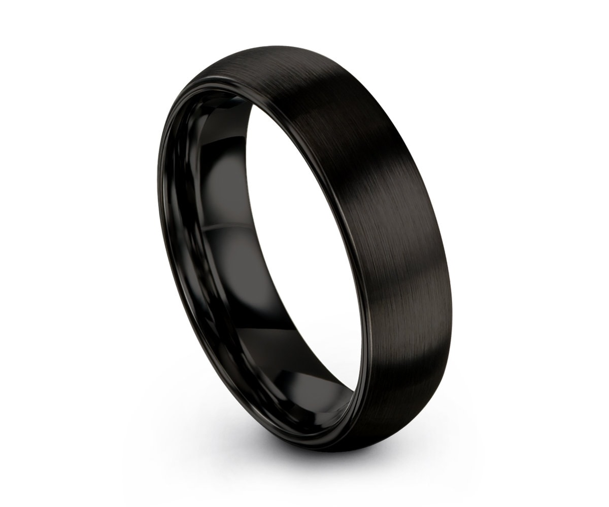 Black Ring Mens Wedding Band Tungsten Carbide 8mm Engagement Ring For Men Wedding Band Womens Black And Silver Ring Scratch Resistant Ring