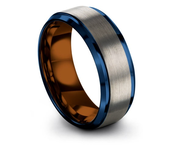 Tungsten Wedding Band Silver - Personalized Gifts For Papa- Comfort Tungsten Ring - Custom Ring - Blue Engagement Ring - Copper Wedding Band
