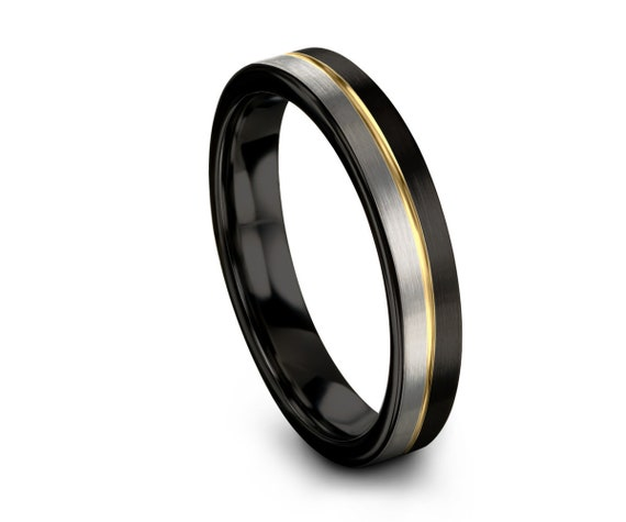 Unisex 18k Yellow Gold 4mm Wedding Band Ring | Two Tone Brushed Silver Black Tungsten Carbide Ring | Anniversary, Wedding, Engagement, Gift