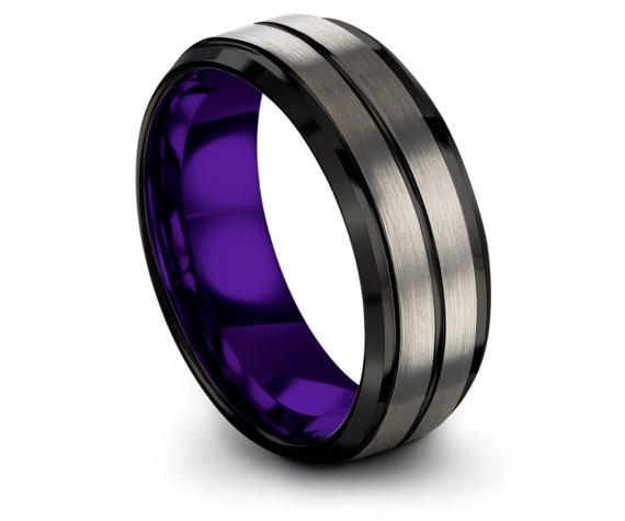Silver Wedding Band Set, Comfort Fit, Black Tungsten Wedding Band, Thin Line Black, Tungsten Band, Tungsten Carbide Band, Free Engraving