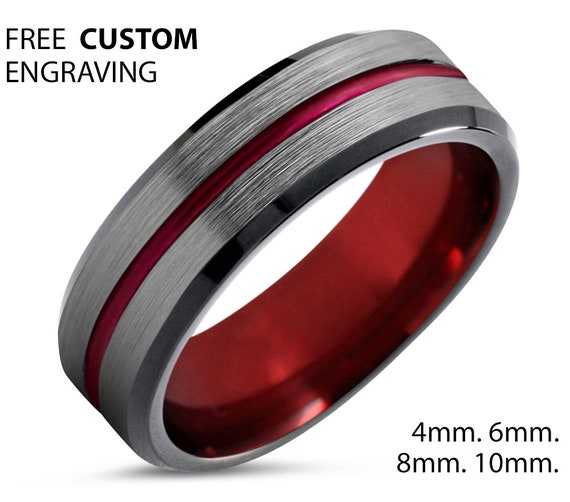 Mens Wedding Band Silver, Red Tungsten Ring, Wedding Ring Red 6mm, Engagement Ring, Promise Ring, Rings for Men, Brushed Silver