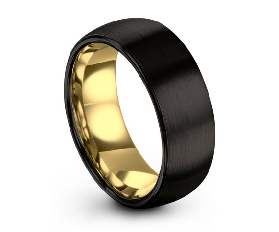 Brushed Gold Black Mens Wedding Band   Tungsten Carbide Ring in Yellow 6mm, or 8mm available   18K His or Her with Fast Free Shipping