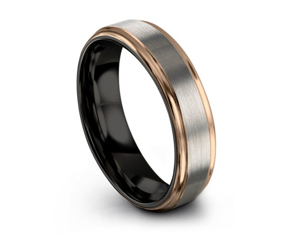 Mens Wedding Band, Rose Gold Wedding Ring, Tungsten Ring 4mm 18K, Engagement Ring, Promise Ring, Personalized, Gifts for Her, Gifts for Him