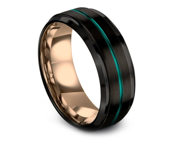 Black Rings Band,18K Rose Gold Band,Tungsten Wedding Ring,Center Engraving Ring,Teal Tungsten Carbide Ring Men,Promise Ring For Him