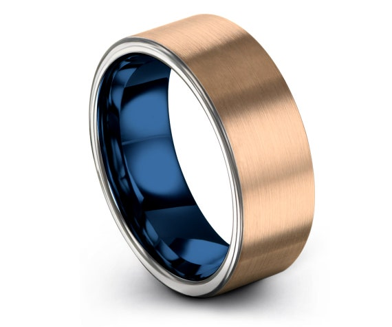 Flat Tungsten Ring Blue   18K Rose Gold Tungsten Wedding Band   Brushed Band   Silver Tungsten Engagement Band   Promise Ring   All Size