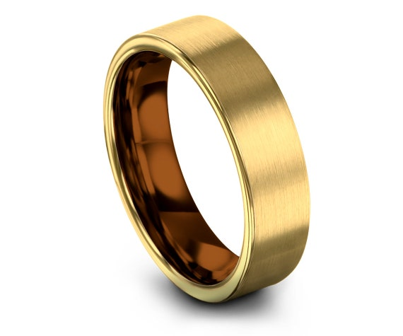 Flat Cut Yellow Gold Band Ring, Gold Brushed Wedding Ring,Copper Tungsten Band,Engagement Ring,Promise Ring,Personalized Ring,Gifts for Him