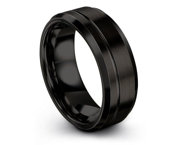 Black Brushed Wedding Band Ring, His and Hers Rings, Offset Line Engraving Ring, Ring For Mens, Boyfriend Gift, Anniversary Matching