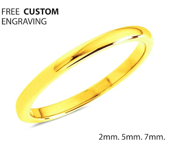 2mm 5mm 7mm 18k Gold Tungsten Wedding Band, Ladies Tungsten Ring, Anniversary Band, Comfort Fit, Engagement Ring, Promise Ring, Gold Ring