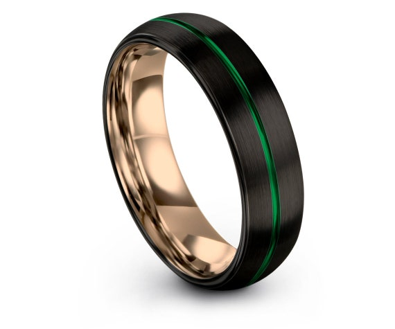 Domed Tungsten Carbide Ring | Black Green Wedding Band | Rose Gold Tungsten Band | Personalized Jewelry | Unique Ring | Promise Ring For Him