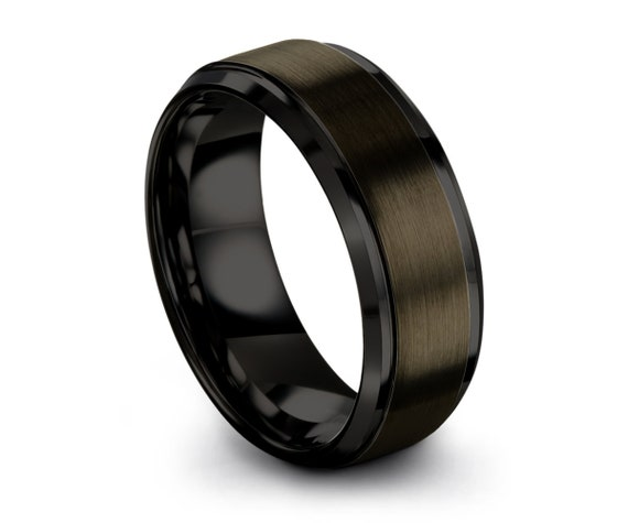 Black Tungsten Ring Gunmetal Tungsten Carbide Wedding Band Anniversary Ring Engagement Band Male Women Custom Size His Hers Comfort Fit Set