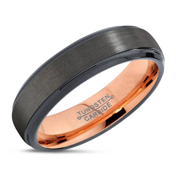 GUNMETAL Tungsten Ring, Mens Wedding Band Rose Gold 6mm 18K, Engagement Ring, Promise Ring, Rings for Men, Rings for Women, Black Ring