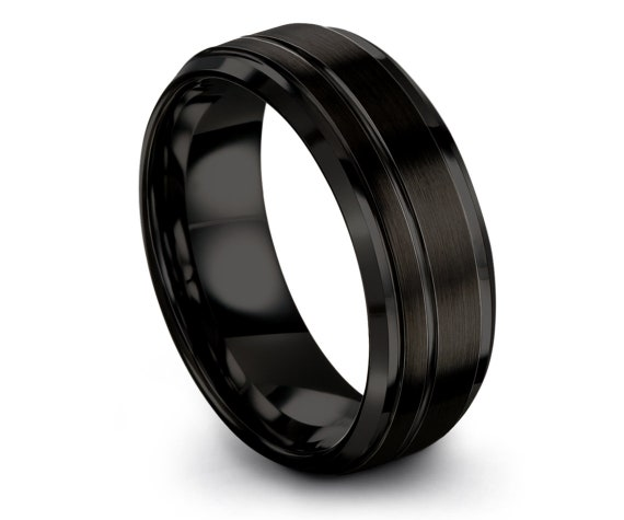 Black Tungsten Ring Women,His and Hers,Tungsten Carbide Ring,Mens Black Ring,Offset Line Engraved Black Ring,Anniversary Gift,Husband Gift