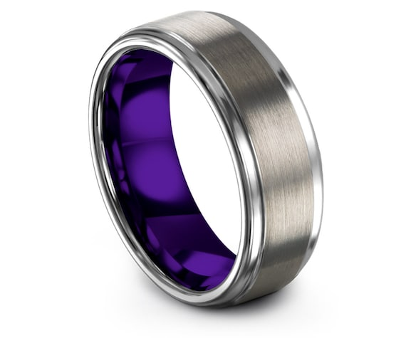 Silver Tungsten Wedding Band Set,Mens Purple Wedding Band,Engagement Ornament,Promise Ring,Gifts for Him,Mens Ring,Christmas Gift Ideas
