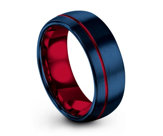 Mens Wedding Band Blue, Tungsten Ring Red 8mm, Wedding Ring, Engagement Ring, Promise Ring, Gifts for Her, Gifts for Him, Personalized