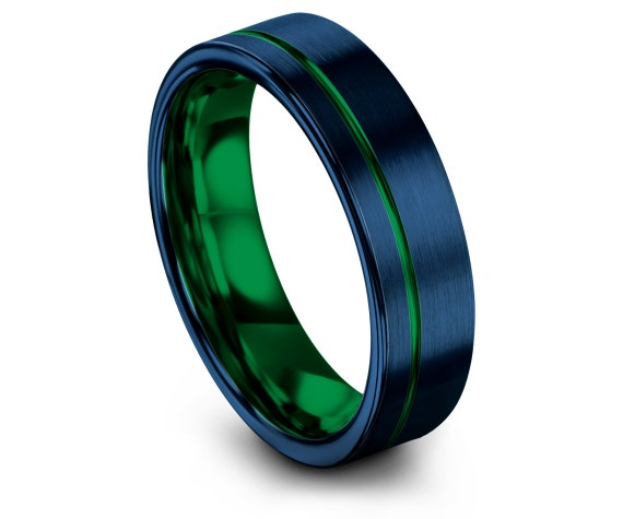 His and Hers Wedding Band Set Blue, Flat Tungsten Ring Green, Mens Wedding Band, Tungsten Carbide 6mm, Offset Engraved Ring, Gift For Him