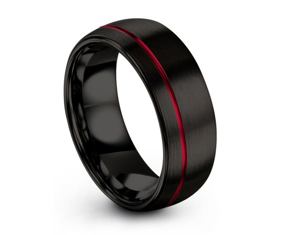 Mens Wedding Band Black, Tungsten Ring Red, Wedding Ring, Engagement Ring, Promise Ring, Rings for Men, Rings for Women, Black Ring