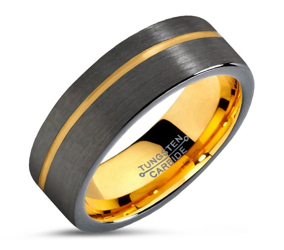 Sexy 18k gold plated unisex wedding band men & women tungsten wedding ring with FREE personalized engraving