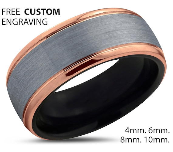 Mens Wedding Band, Rose Gold Wedding Ring, Tungsten Ring 10mm 18K, Engagement Ring, Promise Ring, Personalized, Gifts for Her, Gifts for Him