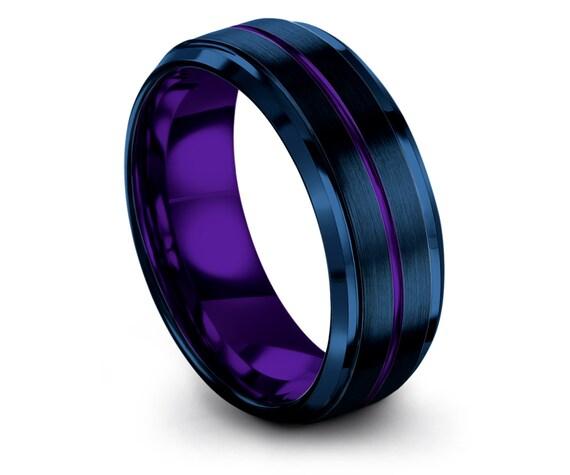 Luxury Engagement Ring,Wedding Band Tungsten Blue,8mm Tungsten Wedding Set,Purple Center Engraving Ring,Rings for Women,Rings,Free Shipping